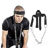 Gymforward Head Harness Neck Belt Weight Lifting Straps Chain Set Chin Belt Mount Strap Exercise Fitness Strength Equipment
