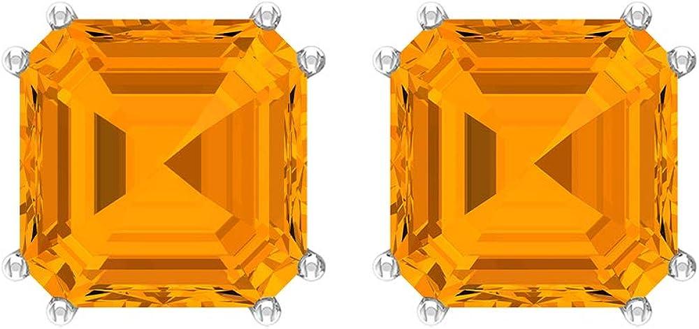 Pendientes de zafiro naranja de 6,3 CT creados en laboratorio, 8 mm, corte Asscher, pendiente solitario, ajuste de doble punta (calidad AAAA), tornillo hacia atrás