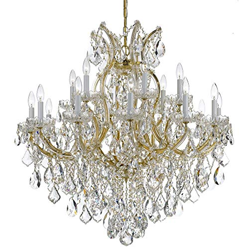 (Crystorama 4418-GD-CL-MWP Crystal 18 Light Chandelier from Maria Theresa collection in Gold, Champ, Gld Leaffinish,)