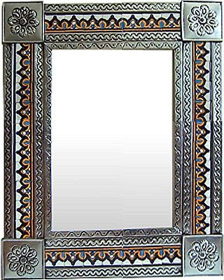 Fine Crafts Imports Medium Silver Milan Tile Talavera Tin Mirror