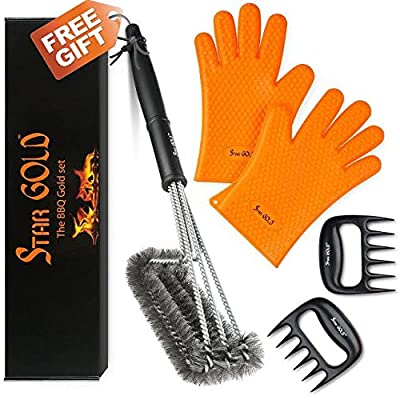 "Buy BBQ Silicone Gloves / Cooking / Oven / Kitchen + Meat Claw / Shredder Get 18"" BBQ Cleaning Brush - All in a gift Box. N.1 Smoker Accessories set from Star GOLD"