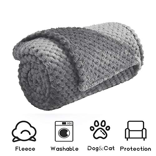 Msicyness Small Dog Blanket, Ultra Soft and Warm Premium Fleece Fluffy Throw Blankets Bed Covers for Puppy Pets(Small Gray)