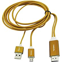 Super Power Supply® 6.5 Feet MHL Micro USB to Hdmi 1080p Hdtv Adapter Cable for Samsung Galaxy S3 S4 S5 Note 2 Note 3 and Samsung Tablet Tab 3, Tab Pro, Note Pro (Gold)