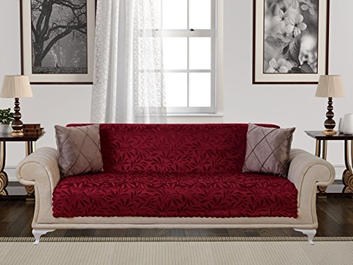 Chiara Rose Anti Slip Armless 1 Piece Sofa Throw Slipcover For Dogs Pets Kids Non Slip Furniture Cover Shield Protector Fitted 2   3 Cushion Couch Futon Sectional Recliner Seater Acacia Sofa Burgundy