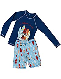 Boys Two Piece Rash Guard Swimsuits Kids Long Sleeve UV Sun Protection Sunsuit Swimwear Sets