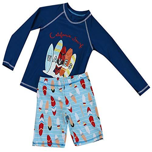 Boys Two Piece Rash Guard Swimsuits Kids Long Sleeve UV Sun Protection Sunsuit Swimwear Sets (Navy, 6-7 Years) (Boys Rash Guard Swimwear)