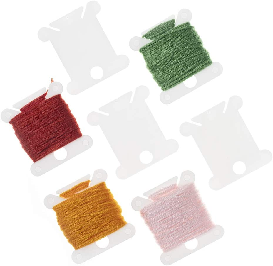 White. Jofefe 50pcs Plastic Floss Bobbins Embroidery Bobbin Cross Stitch Thread Holder Bobbin for Cotton Thread Craft DIY Sewing Storage Friendship Bracelet Strings
