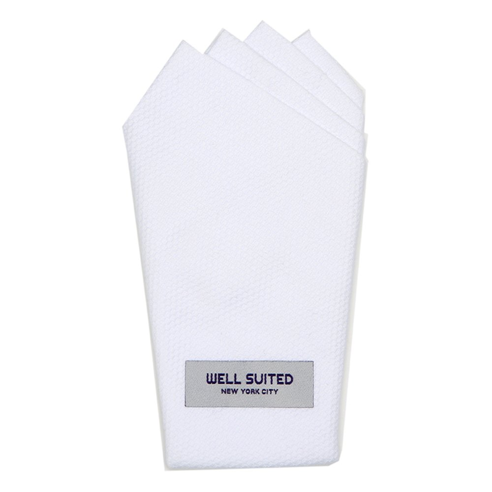 Well Suited NYC Pre-Folded Pocket Square (White Cotton Pique, Four Point Fold)