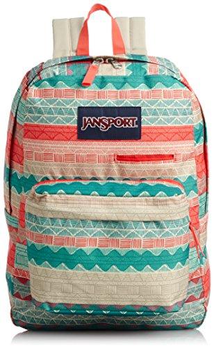 (JanSport Unisex Digibreak Malt Tan Boho Stripe Backpack)