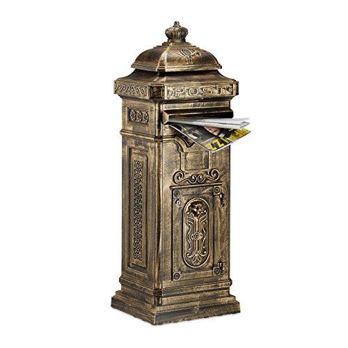 Relaxdays Freestanding Antique Mailbox, 101 x 34.5 x 31 cm, Nostalgic Post Box, Aluminum, British Design, ()