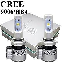 9006 HB4 LED Headlight Bulbs All-in-One Conversion Kit 12000LM /set 6000K - 6500K CREE XHP50 Chips Car Headlamp Auto Driving Fog Light Bulb for Replace Halogen Bulb Headlights ,1 Yr Warranty