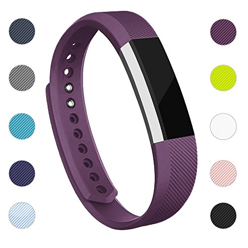 iGK Replacement Bands Compatible for Fitbit Alta and Fitbit Alta HR, Newest Adjustable Sport Strap Smartwatch Fitness Wristbands with Metal Clasp Purple Large