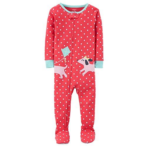 Cotton Footie Pajamas (Carter's Baby Girls' Puppy Cotton Sleeper (Pink Dog Kite, 18 Months))
