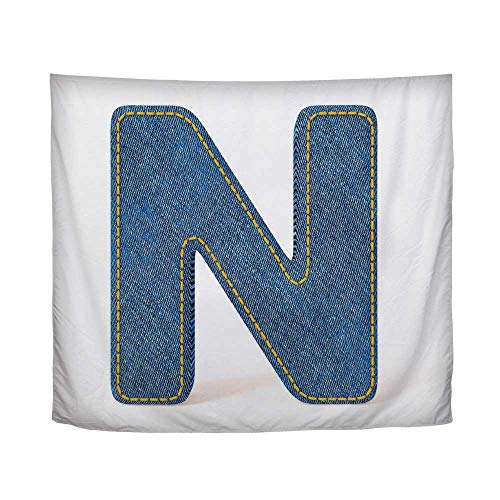 In Denim 90 Jean Blue - YOLIYANA Letter N,N Uppercase Letter with Denim Alphabet Font Design Blue Jean Writing System Retro Decorative,90