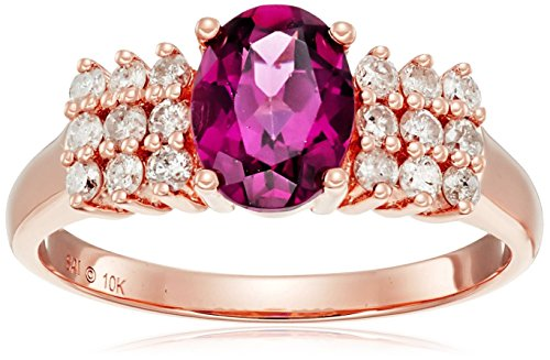 10k Pink Gold Rhodolite and Diamond Ring , Size 7