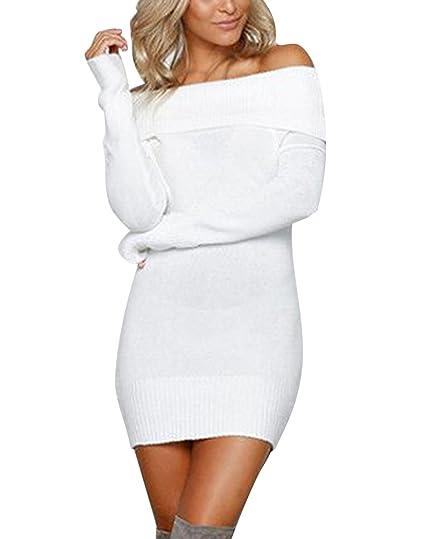 Minetom Eleganti Donne Autunno Inverno Vestiti Fuori Spalla Manica Lunga  Maglieria Accostare Pullover Jumper Maglione Felpa e872e386116