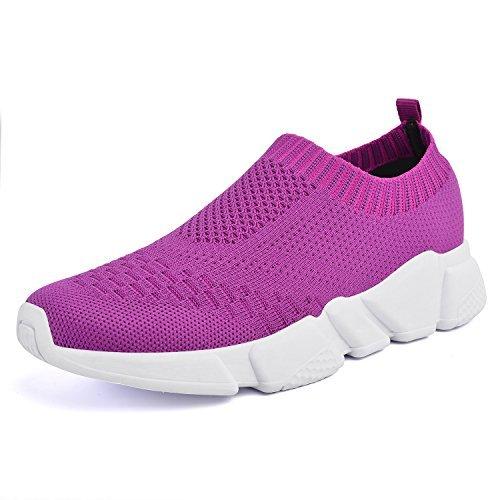 Pictures of Mxson Women's Slip On Sneaker Mesh Purple 8.5 M US 1