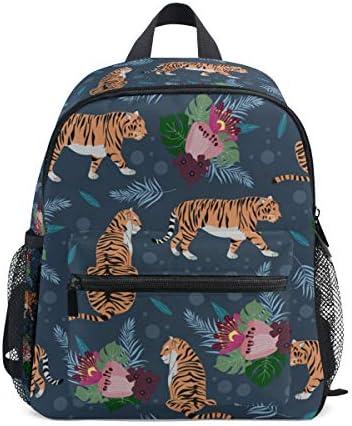 タイガースブルーアートフラワーズ幼児バックパックブックバッグミニショルダーバッグ1-6年旅行男の子女の子子供用チェストストラップホイッスル