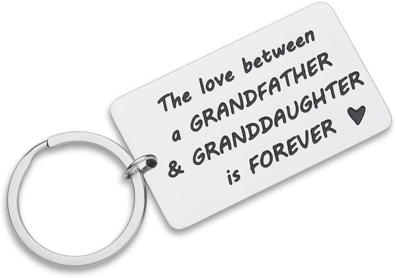 Grandpa Granddaughter Gifts Key Chain Love Quotes from Grandkids- Inspirational Funny Gift for Grandfather Papa Men - Christmas Gift Birthday Fathers Day -Hand Stamped Key Ring