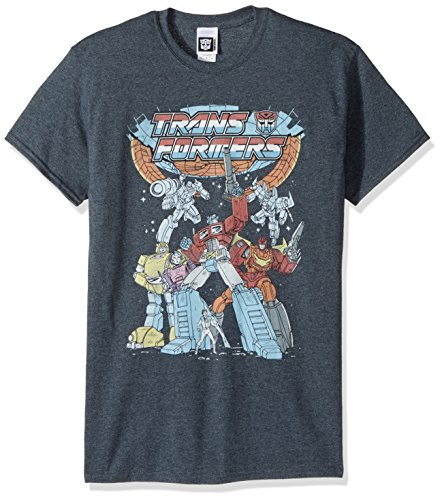 Transformers Men's Vintage Groupshot T-Shirt, Dark Heather, 4XL