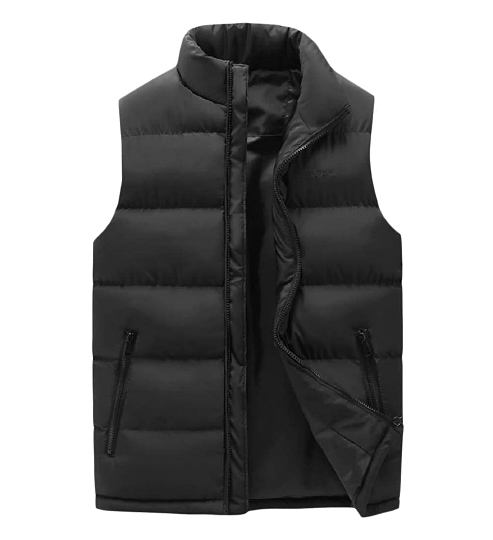 Mfasica Men Puffer Loose Padded Down Vest Stand Up Collar Casual Jacket