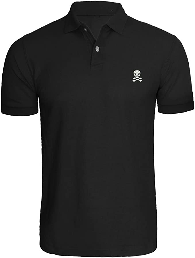 DEATU Formal Shirts for Men Mens Polo Striped Tops T Shirts Short Sleeve Black White with 4 Button