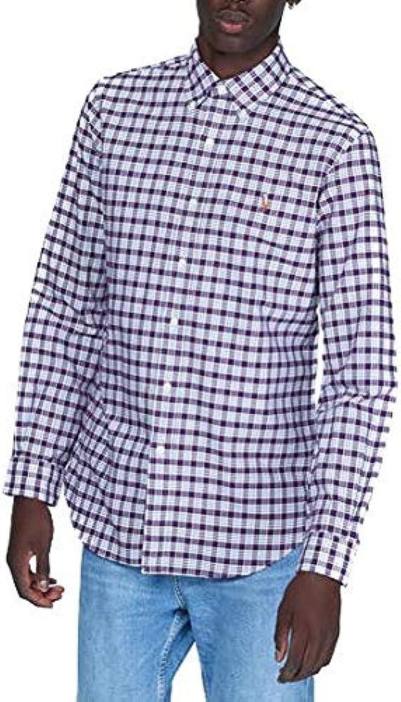 Camisa Ralph Lauren Oxford Custom Fit Cuadros Granate Hombre Medium Rojo: Amazon.es: Ropa y accesorios