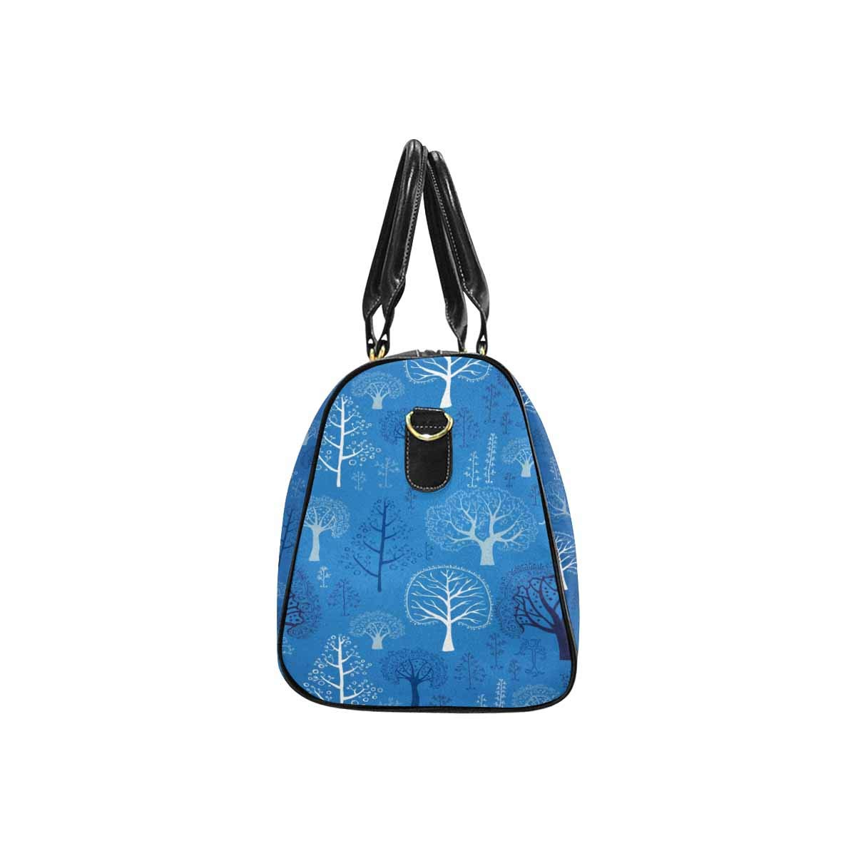 InterestPrint Travel Duffel Bag Waterproof Fabric Overnight Bag Blue Pattern With Tree Branches