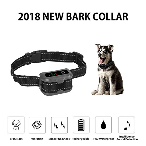 MEKUULA Rechargeable Dog Bark Collar[2018 NEWEST]anti barking collar for Small, Medium and Large Dog with Beep Vibration and Static Shock,petsafe bark collar,No Shock and Bark E-collar IP67 Waterproof