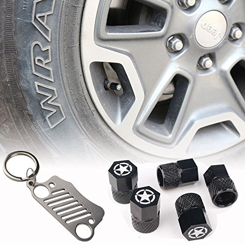 Athiry Car Accessories 5PCS Car Leak Gas Valve Cap Covers with Five Stars for Jeep Wrangler Black Car-Styling Kit Wrangler Metal Key Chain