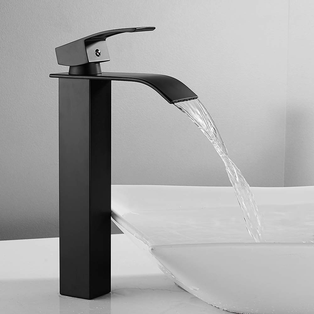 Robinet Mitigeur Cascade lavabo vasque haut Bec Robinetterie Cuisine Monocommande Carr/é Chrom/é Trou Simple Levier Moderne pour salle bain eau froide lave main Noir