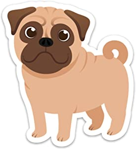 """Pug Sticker Decal Cute Dog for Laptop Waterbottle Size: 3.64"""" x 4"""""""
