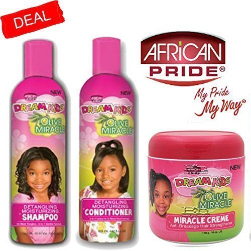 Dream African Pride Kids Olive Miracle Detangling Moisturizing Set Of 3 Products ()