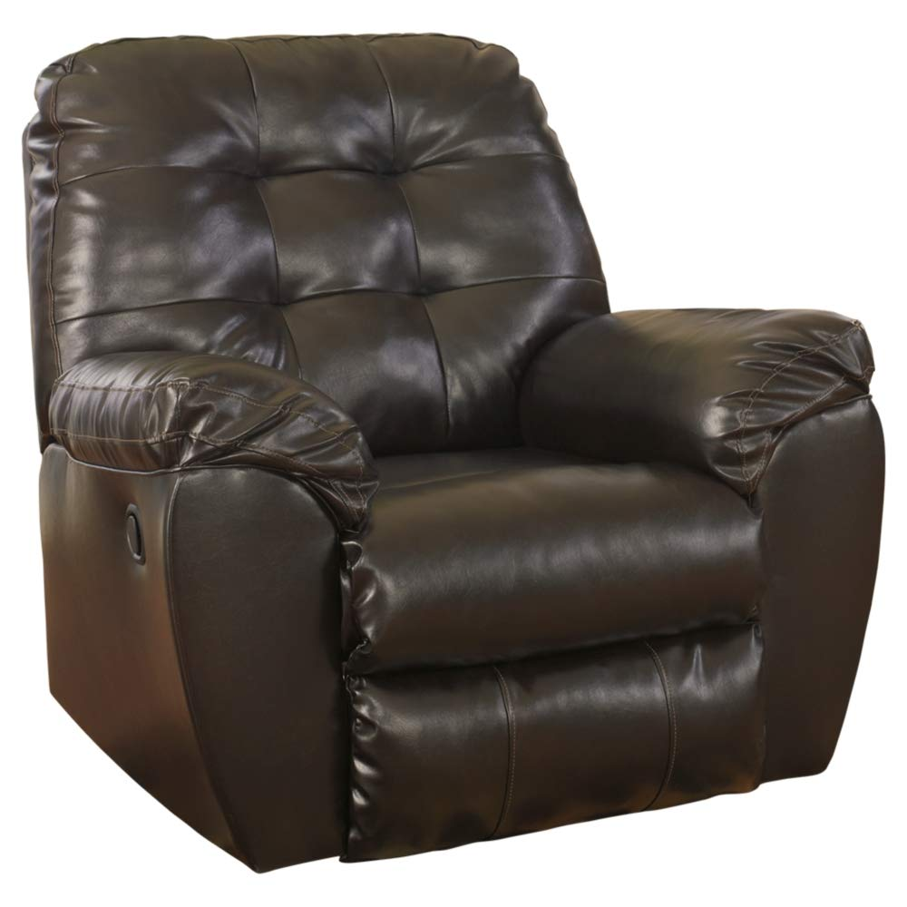 Ashley Furniture Signature Design - Alliston Contemporary Rocker Recliner - Pull-Tab Reclining - Chocolate