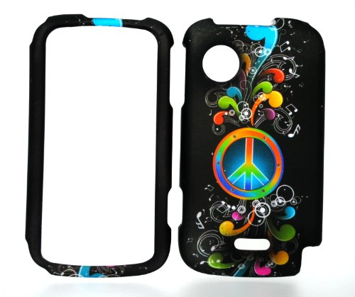 Rainbow Wave Peace Sign on Black Rubberized Snap on Hard Protective Cover Case for Huawei M735 (Huawei M735 Case)