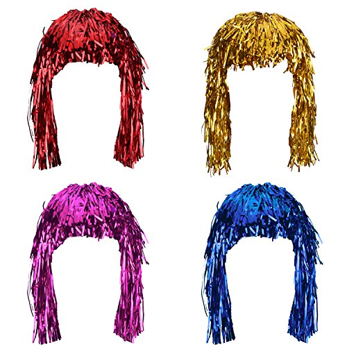 Sumind 4 Pieces Foil Tinsel Wigs Fancy Dress Shiny Party Wig Metallic Costume Cosplay Supplies (Gold, Blue, Red and -