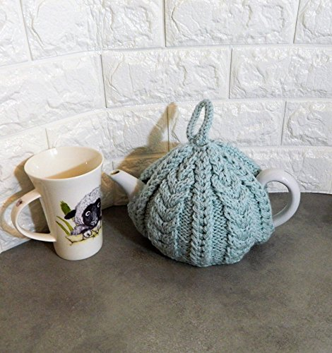 Duck egg blue, cable stitch, Hand knitted, Tea cosy, handmade teacosies, fits a 4 cup tea pot