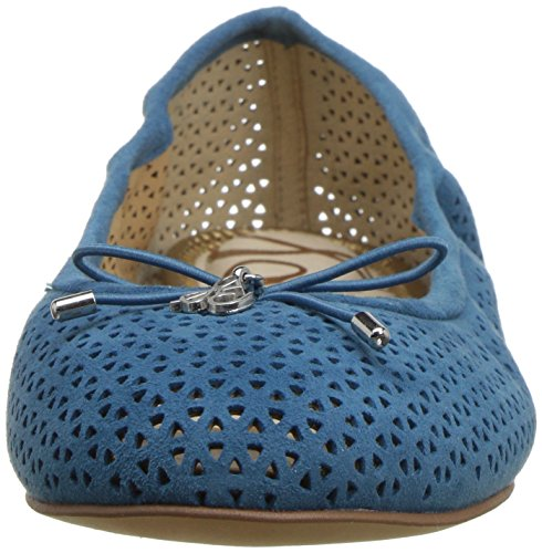 8 Perforated Pacific Suede Suede Caramel 2 Felicia Blue UK Flat Perforated Edelman Women's Sam Golden Ballet xwF7nfpqFW