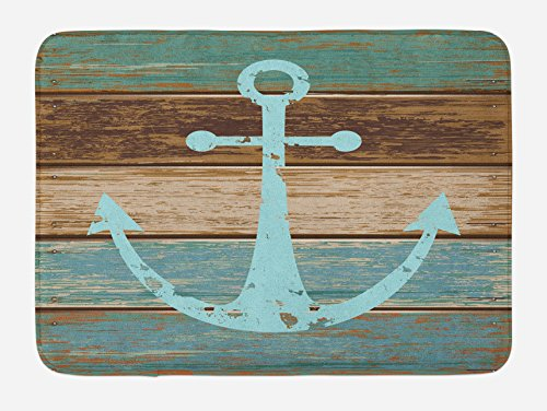 Anchor Bath Mat by Ambesonne, Timeworn Marine Symbol on Weathered Wooden Planks Rustic Nautical Theme, Plush Bathroom Decor Mat with Non Slip Backing, 29.5 W X 17.5 W Inches, Pale Blue Brown Teal