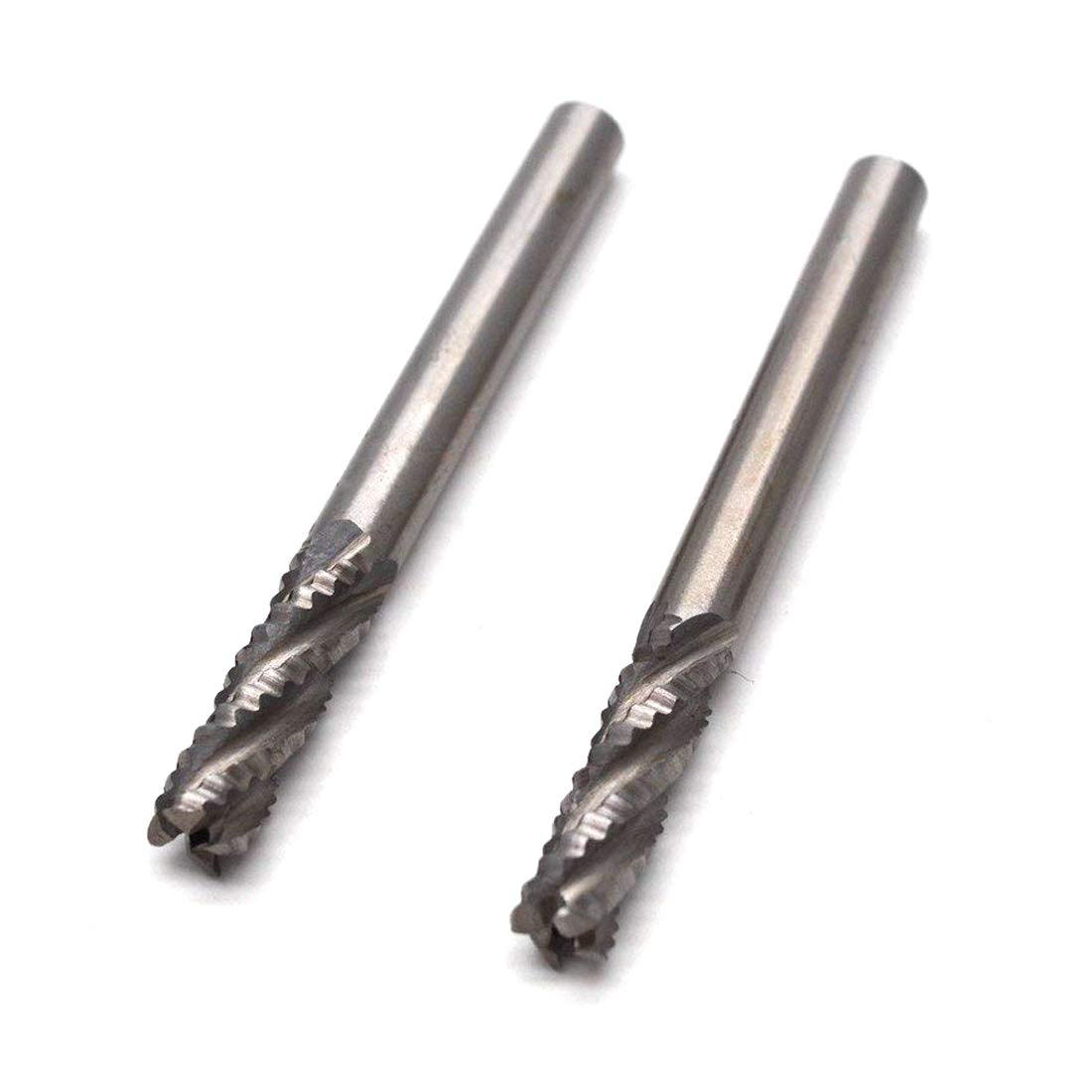 Sydien 2pcs HSS 6mm//0.24 Inch Dia Roughing End Mill 4 Flute,Coarse Tooth,1//4Shank
