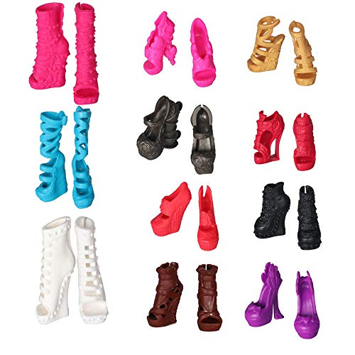 Tanosy 10 Pairs Shoes Monster High Doll Accessories Fashion High Heels Sandals Boots Shoes Variety Colors Girl Gift -