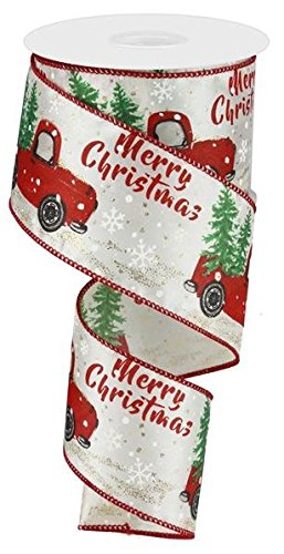 Christmas Vintage Truck Wired Edge Ribbon - 2.5