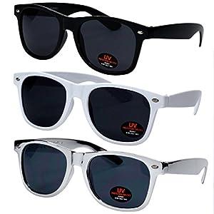 Wayfarer Sunglasses for Men, Women & Kids by Ray Solée- 3 Pack Black,White & Silver