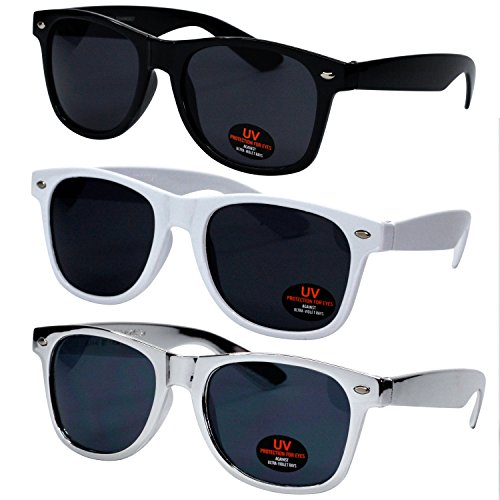 Classic Wayfarer Style Sunglasses by Ray Solée - Tinted Lenses with UVA & UVB Protection - 3 Pair Party Pack for Men, Women & Kids (Black, White & Metallic Silver - Sunglasses For Boys Teen