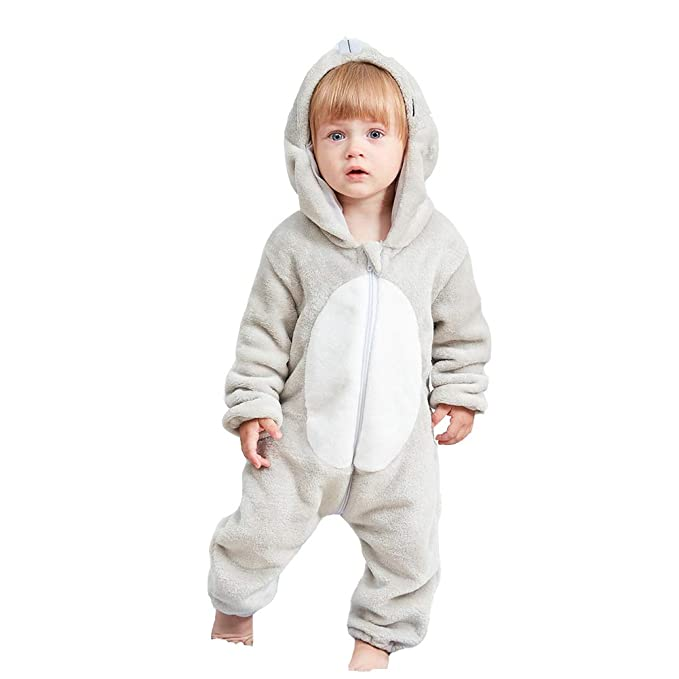 Sudadera con capucha Unisex-Baby Cartoon Onesie Romper con pijama Franela Winter Warm Costume (