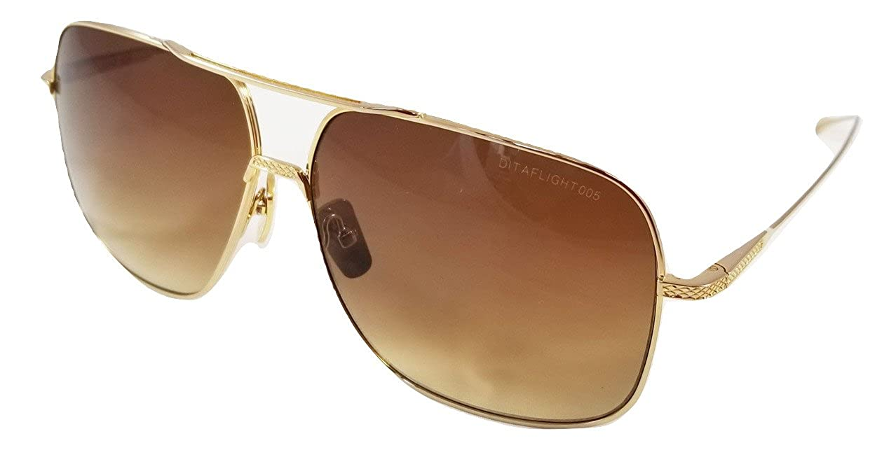 Frame Dita Flight 005 Brushed Aviator Gold Brown Sunglasses With In rdoxeWCB