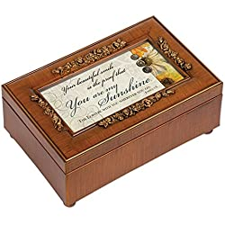 You are My Sunshine Walnut Finish with Rose Gold Trim Jewelry Music Box