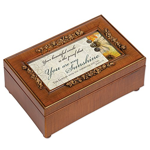 Box Mom Music - Cottage Garden You Are My Sunshine Rich Walnut Finish Jewelry Music Box - Plays Song You are my Sunshine
