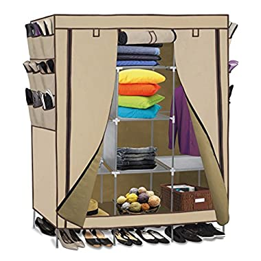 OxGord Storage Closet 13 Customizable Shelves with Sturdy Frame 9 Side Pocket 69 x 51x 17.5-inches (15 Cubic Ft), Beige