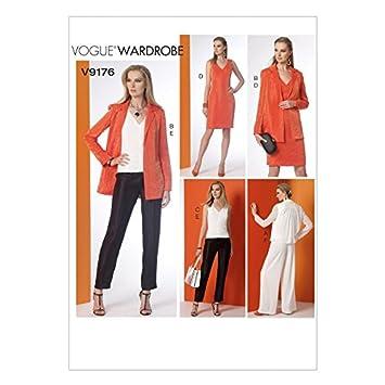 Vogue Damen Schnittmuster 9176 Notch Kragen Rückseite Falte Jacke ...